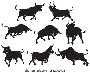 Set of bull silhouettes. Collection of spanish fighting bulls in various poses. Vector illustration on a white background.