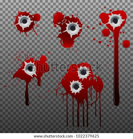 Set Bullet Holes Blood On Transparent Stock Vector Royalty Free