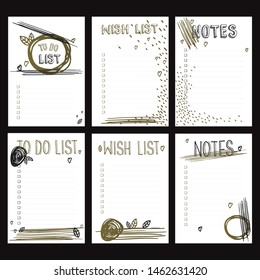 Set of bullet journal checklist blanks (to do list, wish list, notes). Six doodle templates with abstract artistic golden, black brush strokes, scribbles for notebook, diary and planners.