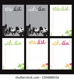 Set of bullet journal checklist blanks (to do list, wish list, notes). Six colorful doodle templates with jungle leaves for notebook, diary and planners. White, yellow, pink background.