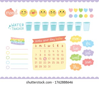 Set of bullet journal elements. For decorate planner or diary.