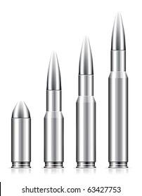 Set of bullets on white background