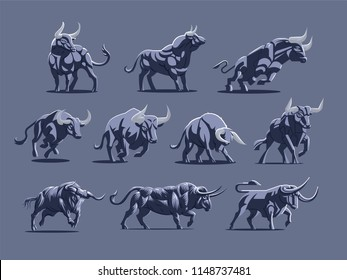 Set of bulls and buffalo in different poses. Vector illustration.