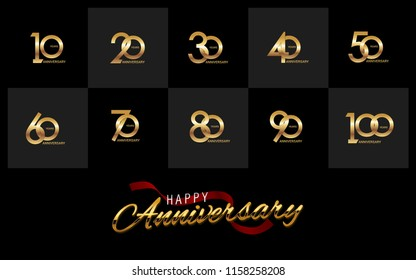 set and bundle anniversary golden logo vector illustration, can be use as logo for birthday, company anniversary flyer and brochure