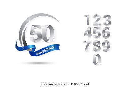set and bundle anniversary silver logo vector illustration, can be use as logo for birthday, company anniversary flyer and brochure