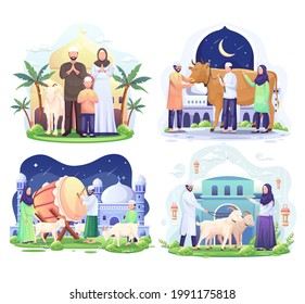 Set Bundle of Happy Muslim family celebrates Eid Al Adha Mubarak with a goat in a front mosque. Flat vector illustration