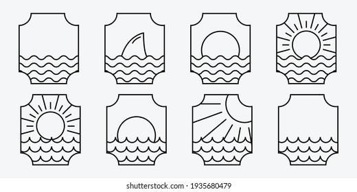 Set Bundle of Marine Ocean Wave Line Art Logo, Illustration Vector of Sea Water, Emblem Design of Maritime Concept, Pacific Aqua Logo