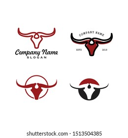 Set Bundle Simple Line Buffalo logo vector icon. bull fight bison with mountain on head face. Silhouette art classic modern look. shirt cloth apparel graphic, game, smart phone app, brand. Quiet, calm