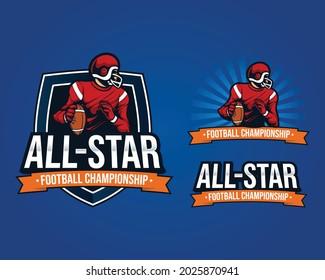 set bundles mascot logo illustration america football championship