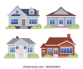 Set of Bungalow House Countryside Home Flat Illustration