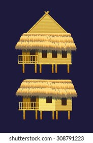 A set of bungalows and buildings made of bamboo
