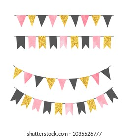 Set of bunting party flags. Vector illustration, suitable for birthday party, wedding celebration.
