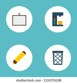 Set of bureau icons flat style symbols with desk, wastebasket, coffee maker and other icons for your web mobile app logo design.