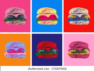 Set Burger Illustration Pop Art Style