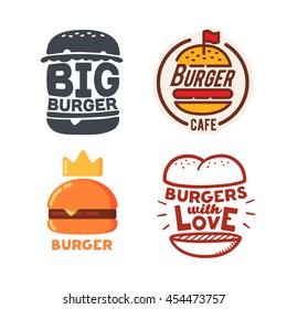 Set of Burger logo, burger labels and emblem. Vector logo.