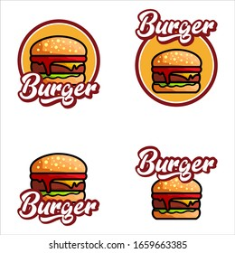 Set Of Burger Logo Vector Illustration. Food Logo Design Grapic Modern