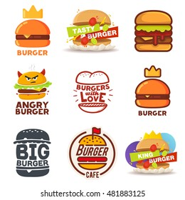 Set of Burger logos, labels
