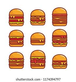 Set of burger vector illustration
