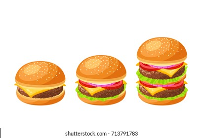 Set of burgers. Cheeseburger, hamburger, double. Vector illustration cartoon flat icon collection isolated on white.
