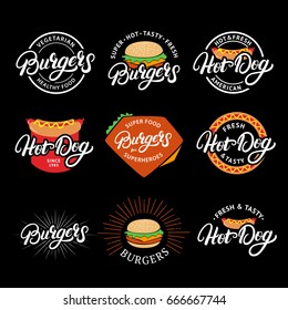 Set of Burgers and Hot dog hand written lettering logo, badge, label, emblem. Fast food, street food. Vintage retro style. Isolated on background. Vector illustration.