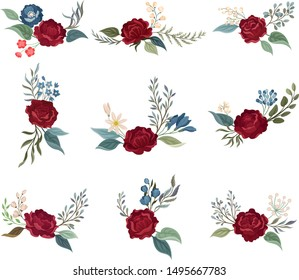 Set of burgundy roses on stems with green leaves. Vector illustration on a white background.