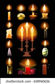 Set of burning candles: classic, in a holder and on a candlestick, melted, Christmas, with a flame, in various forms. Flame candle isolated on black background.
