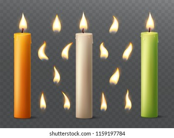 Set of burning candles with different flames. Vanilla, orange and green paraffin or wax on transparent background.
