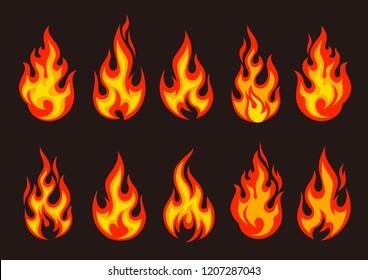 Set of burning fire flame and hot blazing bonfire,  vector illustration