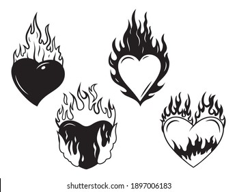 Set of burning hearts. Collection of flaming heart  for Valentine's day. A symbol of passion and love. Tattoo. Vector illustration isolated on white background.