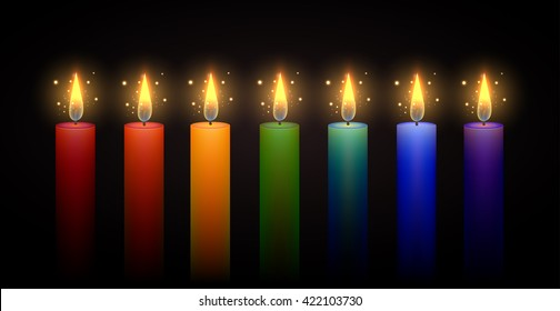 Set of burning rainbow candles. Vector element. Burning candle.