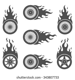 Set of Burning wheels for motorcycles