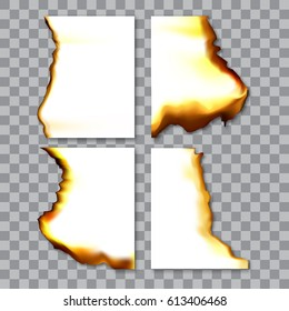 Set of burnt sheets of paper with ash. Damage edge and destroyed sheet. On transparent background vector illustration