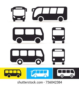 Set of bus icon. Vector illustration. Isolated on white background