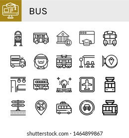 Set of bus icons such as Education, Bus stop, School bus, School, Prisoner transport vehicle, Hippie, Tram, Signboard, Electric train, Touristic, Airport, Tramway, Minivan ,