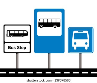 set of bus stop signs