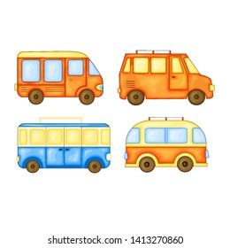 set of buses to travel in cute cartoon style. Vector illustration isolated on white background.