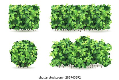 Set of bushes of different shapes on a white background isolated, stylized vector illustration.