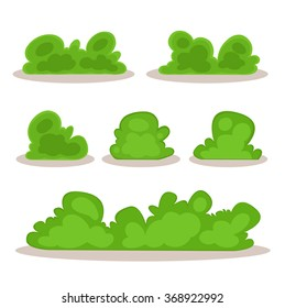 Set of bushes in hand-drawn style for decoration on your works, grass in cartoon style, green plants, vector