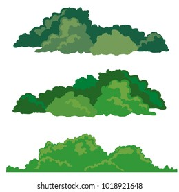 Set of bushes landscape isolated icon, vector illustration,flat design.