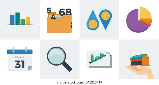 A set of business and accounting themed flat styled vector illustrations