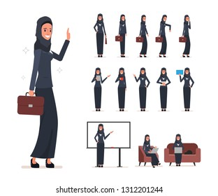 Set of business arab woman character with hijab. people animation character.