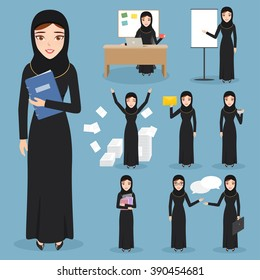 Set of business arab woman character with hijab. people character.