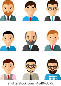 Set of business avatar peoples in flat colorful style Occupation avatars of different manager man