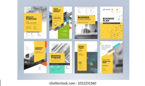 Set of business brochure, annual report, flyer design templates in A4 size. Vector illustrations for business presentation, business paper, corporate document cover and layout template designs.