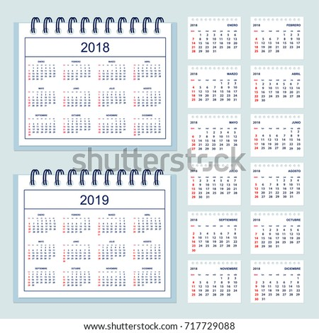 set of business calendar for desk year 2018 with 12 month isolated pages and full