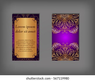 Set of business card, flyer template, abstract elegant pattern vector design editable. Hand drawn background. Islam, Arabic, Indian, ottoman. Mandala motifs.