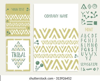 Set of business card and  invitation card templates with ethnic ornament. Hand-drawn fonts and design elements. Vector background. Indian, Arabic, Islam motifs.