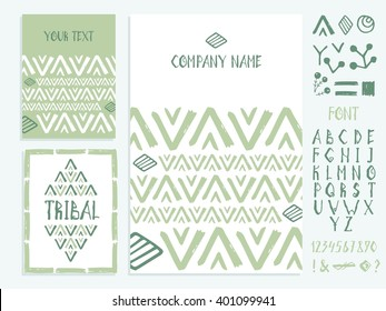Set of business card and invitation card templates with ethnic ornament. Set of hand hand-drawn fonts and design elements. Indian, Arabic, Islam motifs. Wedding or save the date hand drawn background