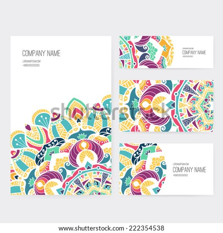 set of business card and invitation card templates with lace ornament vector background indian