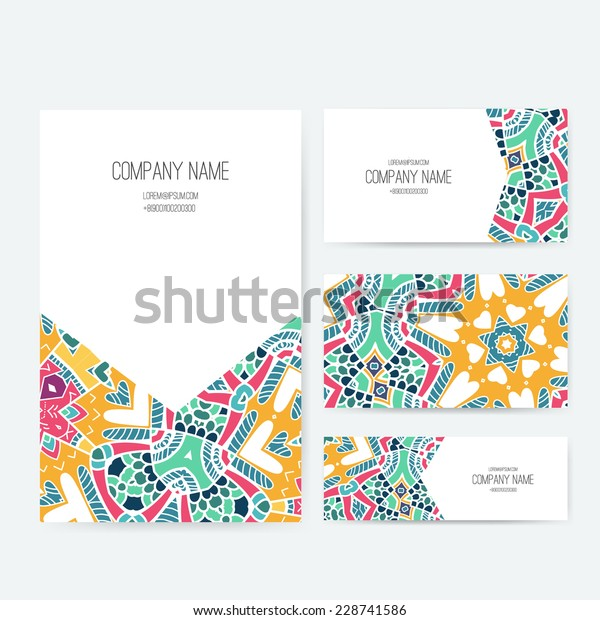 Set Business Card Invitation Card Templates Stock Image